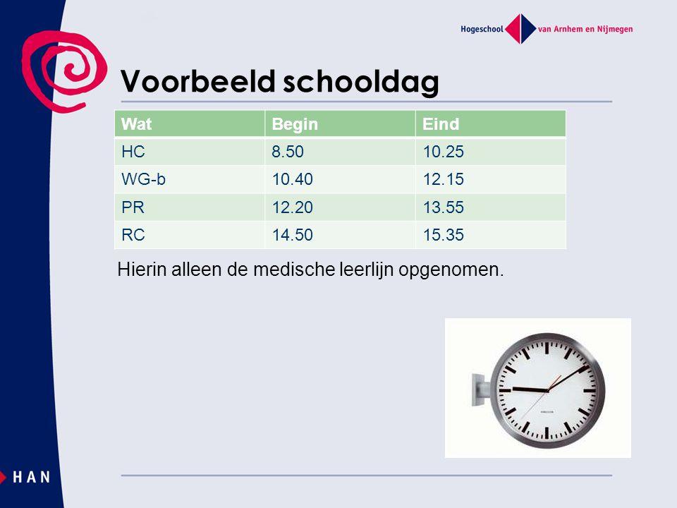 Voorbeeld schooldag Wat Begin Eind HC 8.50 10.25 WG-b 10.40 12.15 PR