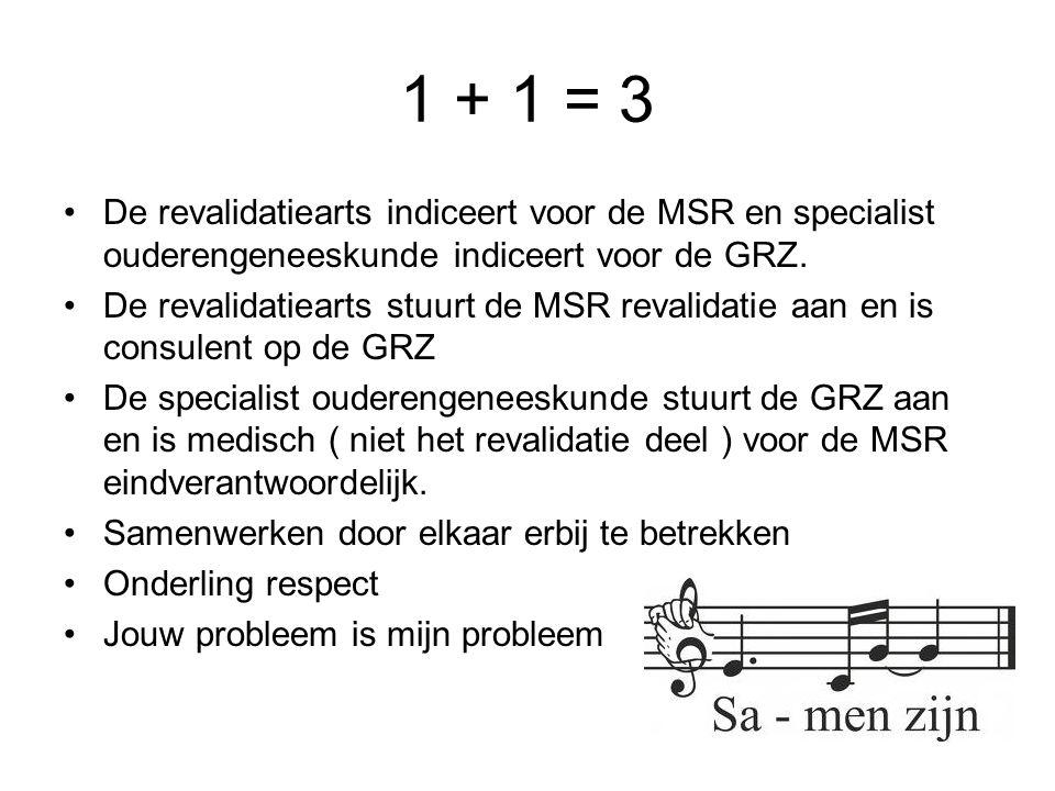 1 + 1 = 3 De revalidatiearts indiceert voor de MSR en specialist ouderengeneeskunde indiceert voor de GRZ.