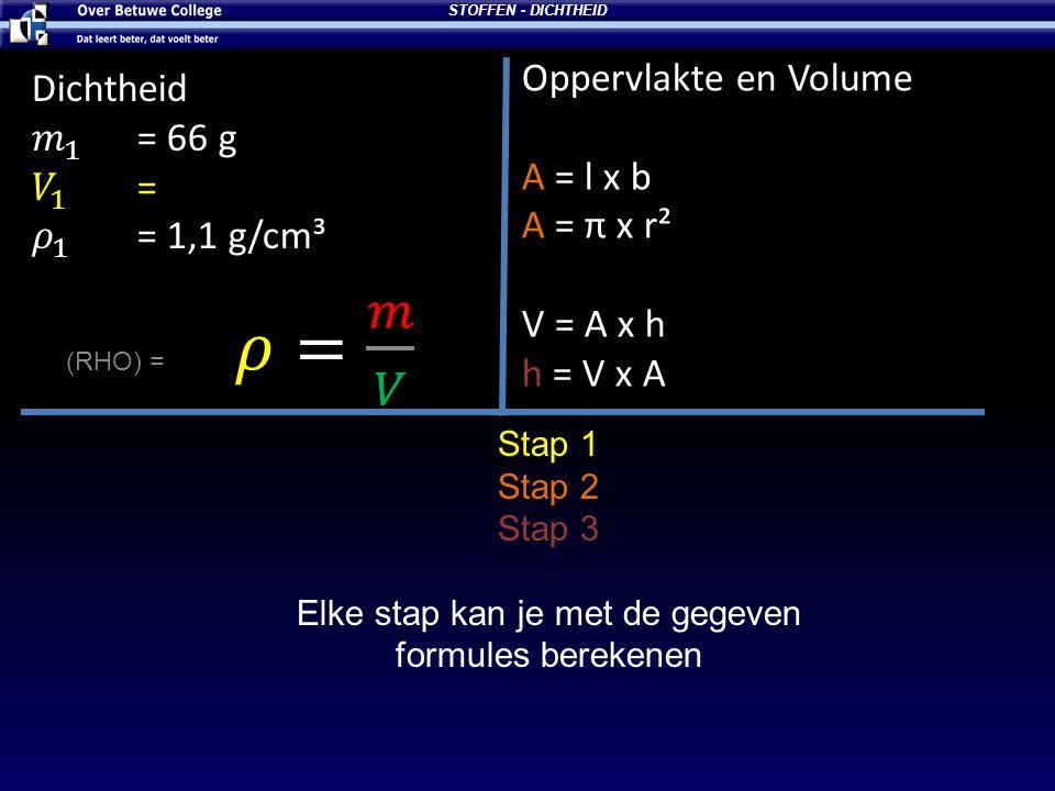 Elke stap kan je met de gegeven formules berekenen