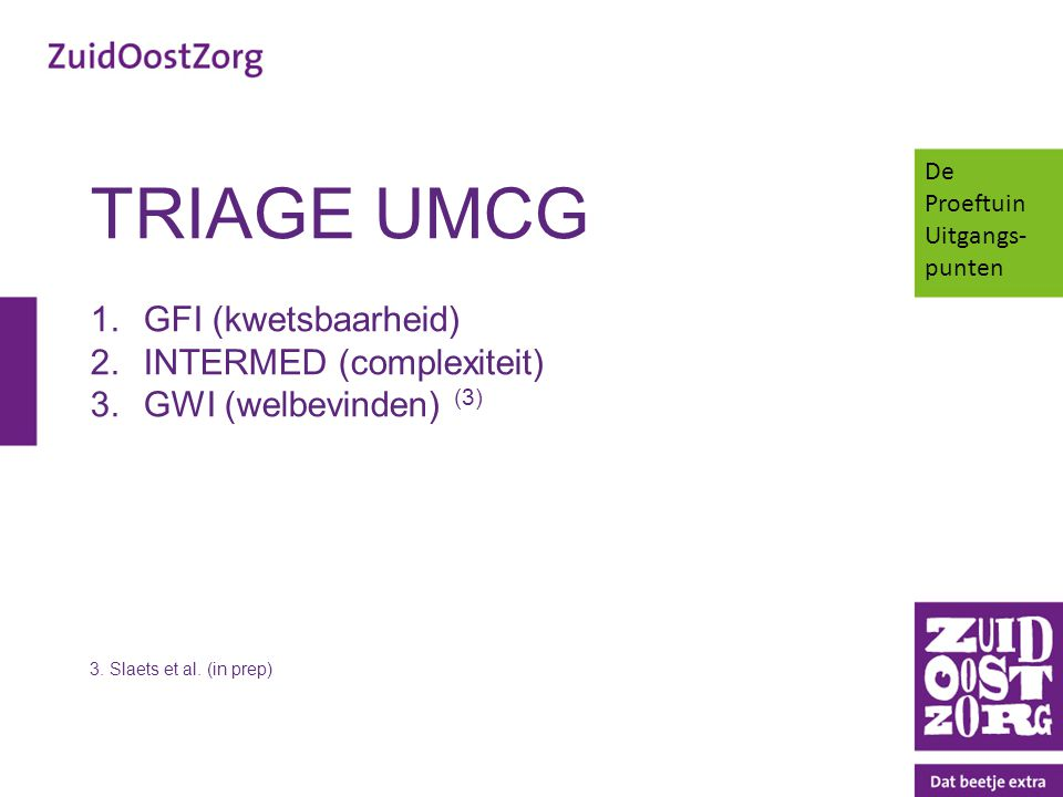 TRIAGE UMCG GFI (kwetsbaarheid) INTERMED (complexiteit)
