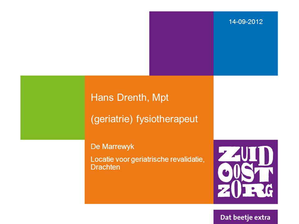 Hans Drenth, Mpt (geriatrie) fysiotherapeut