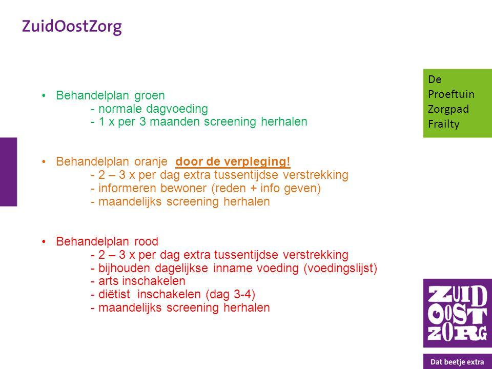De Proeftuin Zorgpad Frailty. Behandelplan groen - normale dagvoeding - 1 x per 3 maanden screening herhalen.