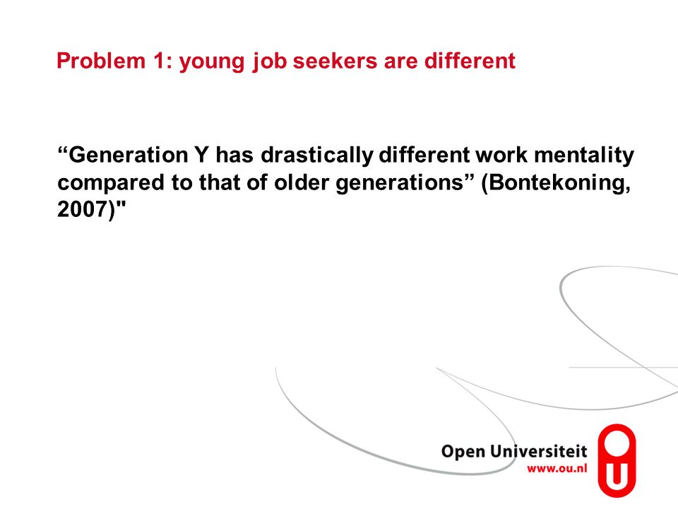 Problem 1: young job seekers are different