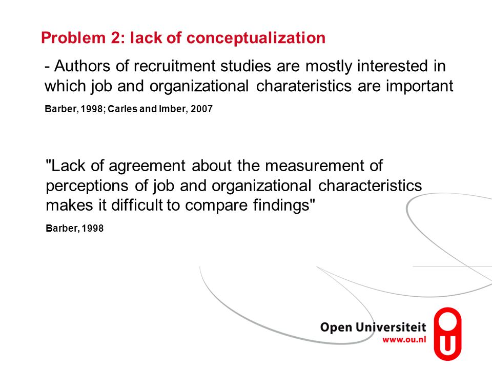 Problem 2: lack of conceptualization