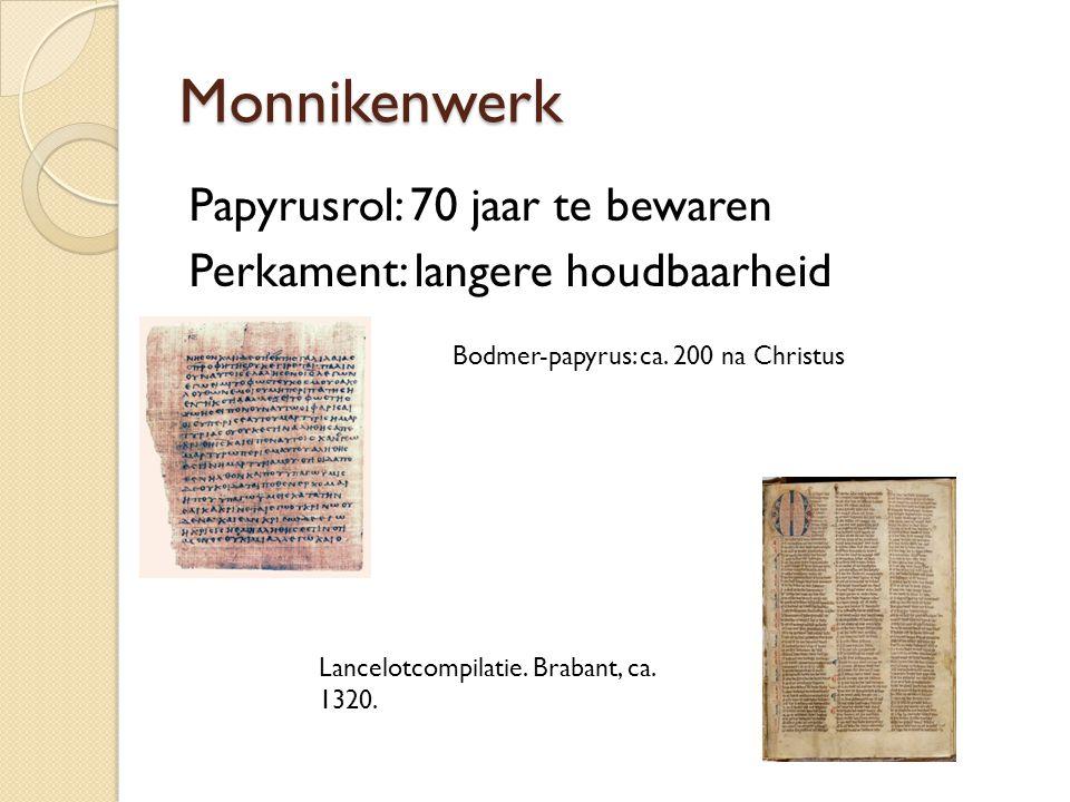 Monnikenwerk Papyrusrol: 70 jaar te bewaren Perkament: langere houdbaarheid Bodmer-papyrus: ca. 200 na Christus.
