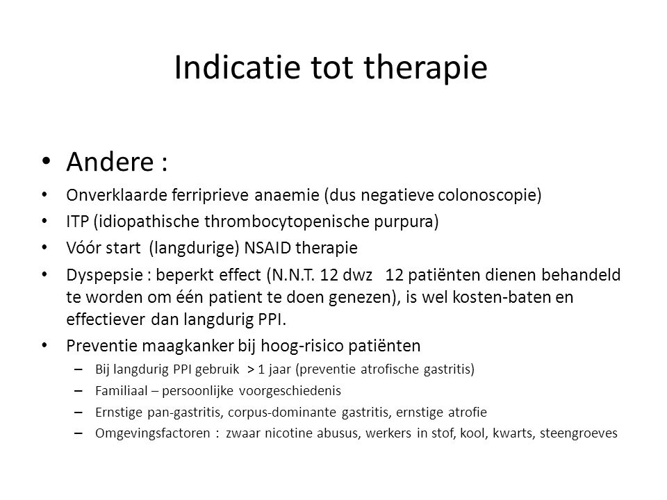 Indicatie tot therapie