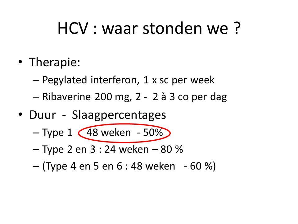 HCV : waar stonden we Therapie: Duur - Slaagpercentages