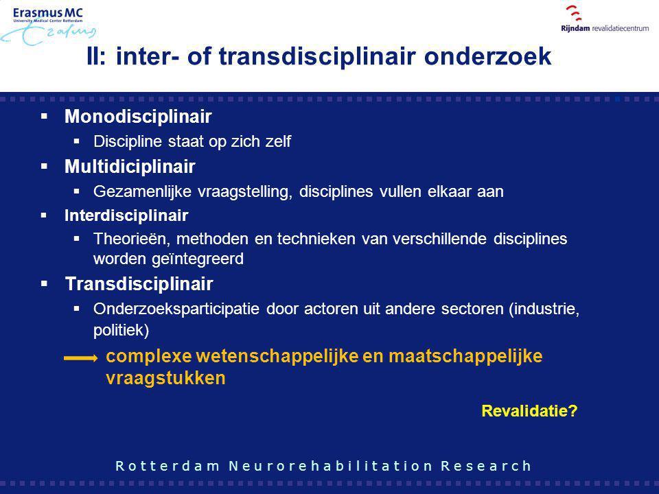 II: inter- of transdisciplinair onderzoek