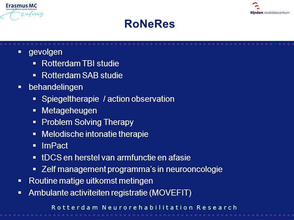RoNeRes gevolgen Rotterdam TBI studie Rotterdam SAB studie