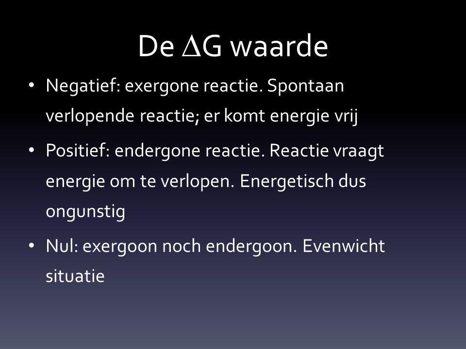 De DG waarde Negatief: exergone reactie. Spontaan verlopende reactie; er komt energie vrij.