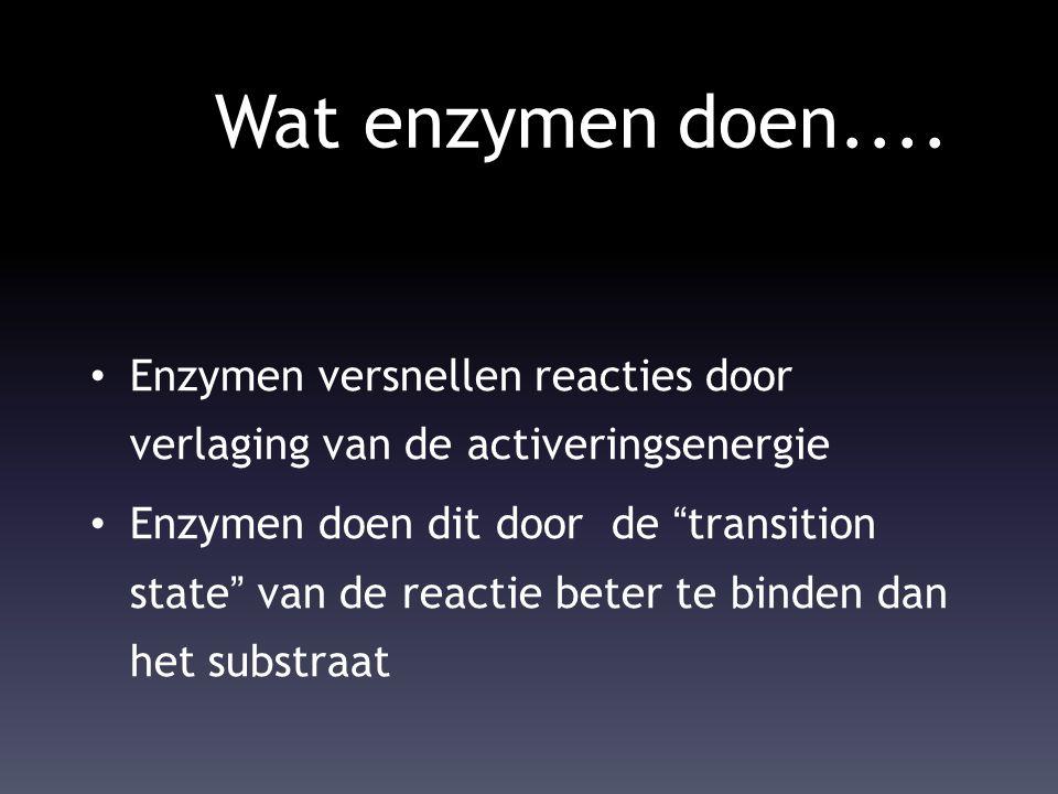 Wat enzymen doen.... Enzymen versnellen reacties door verlaging van de activeringsenergie.