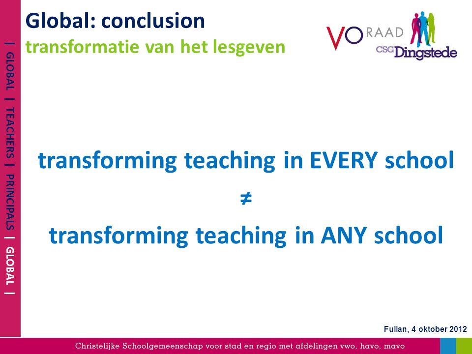Global: conclusion transformatie van het lesgeven