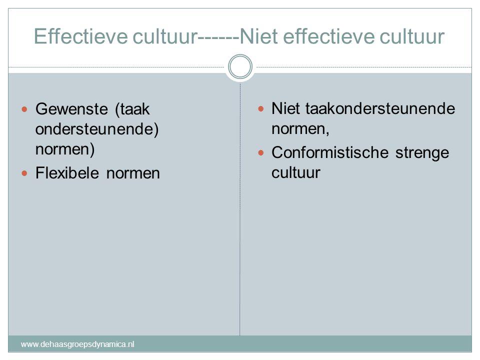Effectieve cultuur------Niet effectieve cultuur