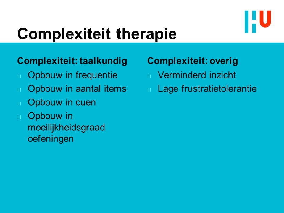 Complexiteit therapie