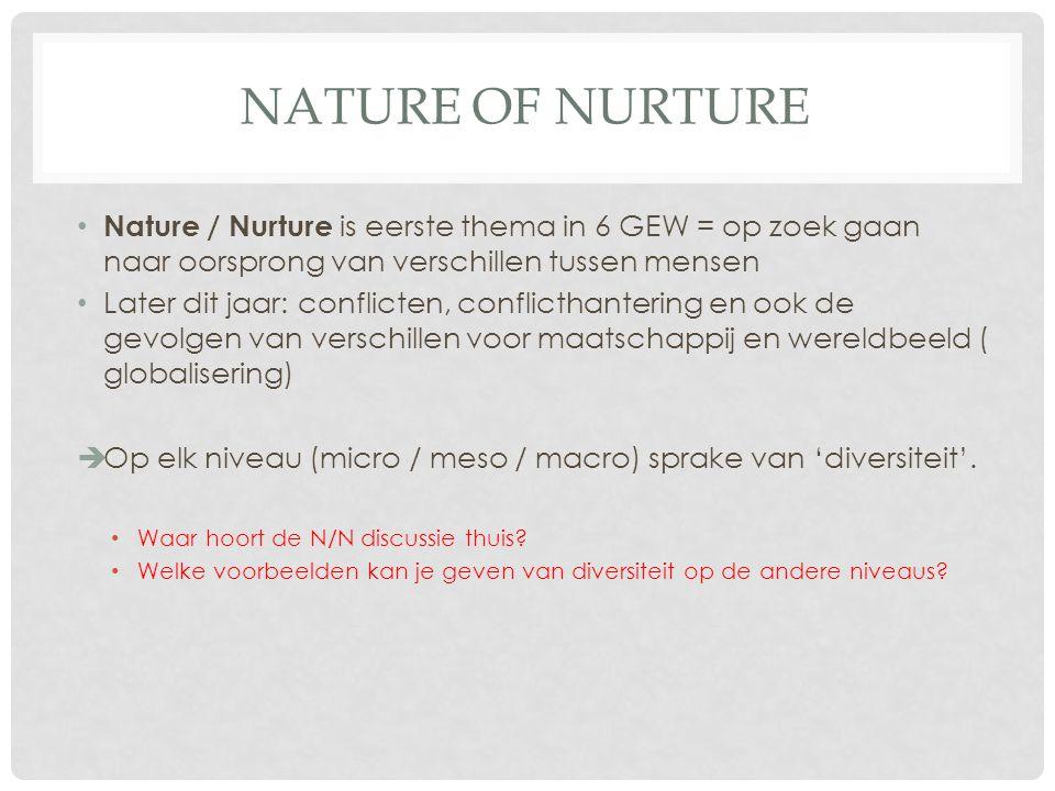 Nature of Nurture Nature / Nurture is eerste thema in 6 GEW = op zoek gaan naar oorsprong van verschillen tussen mensen.