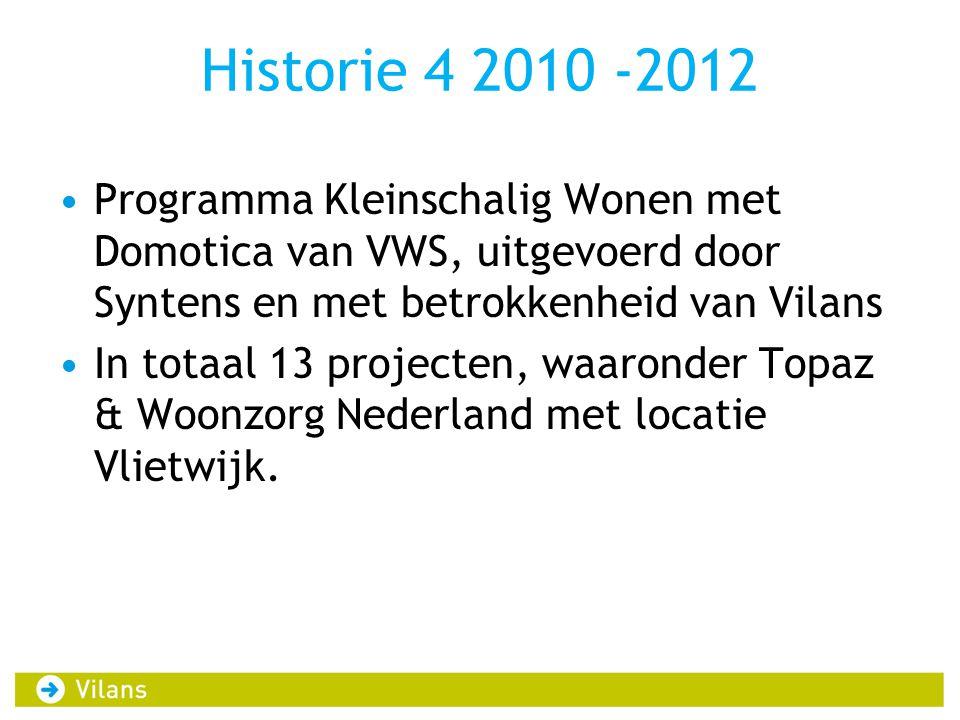 Historie 4 2010 -2012 Programma Kleinschalig Wonen met Domotica van VWS, uitgevoerd door Syntens en met betrokkenheid van Vilans.