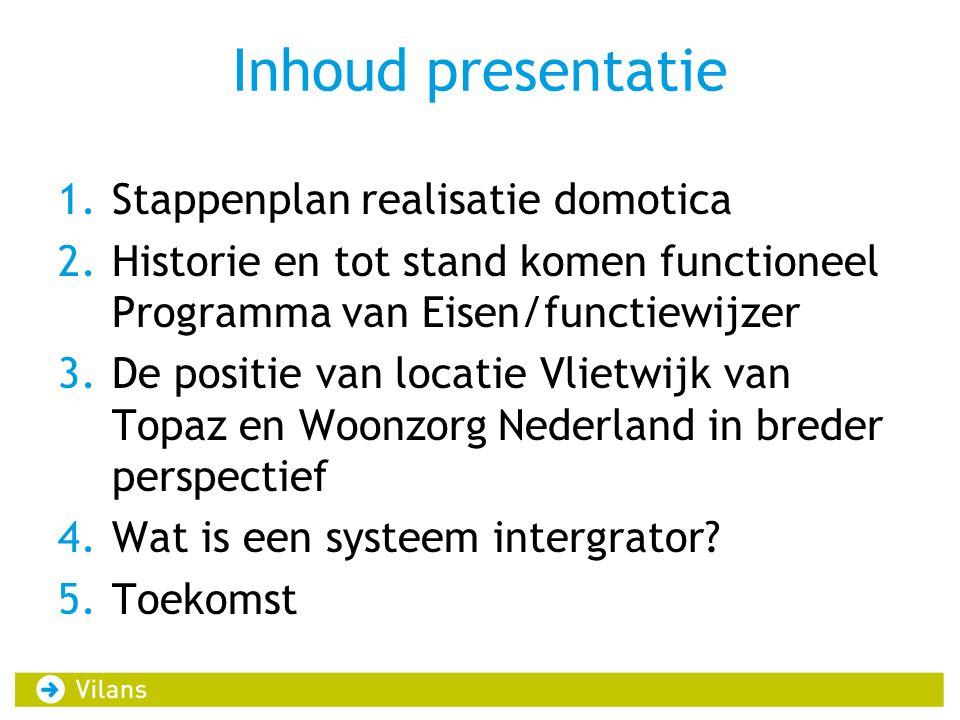 Inhoud presentatie Stappenplan realisatie domotica