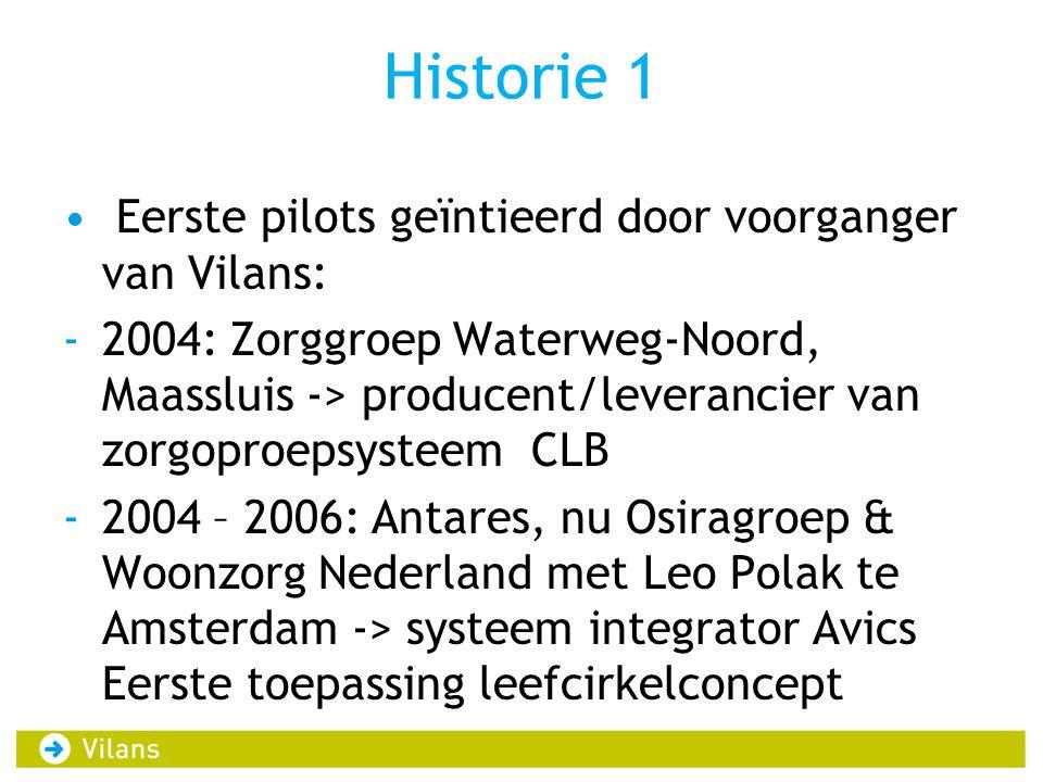 Historie 1 Eerste pilots geïntieerd door voorganger van Vilans: