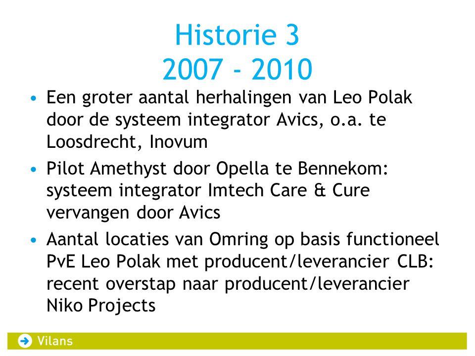 Historie 3 2007 - 2010 Een groter aantal herhalingen van Leo Polak door de systeem integrator Avics, o.a. te Loosdrecht, Inovum.