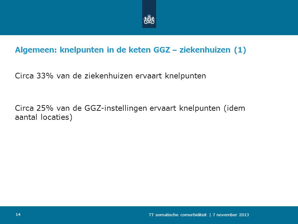 Algemeen: knelpunten in de keten GGZ – ziekenhuizen (1)