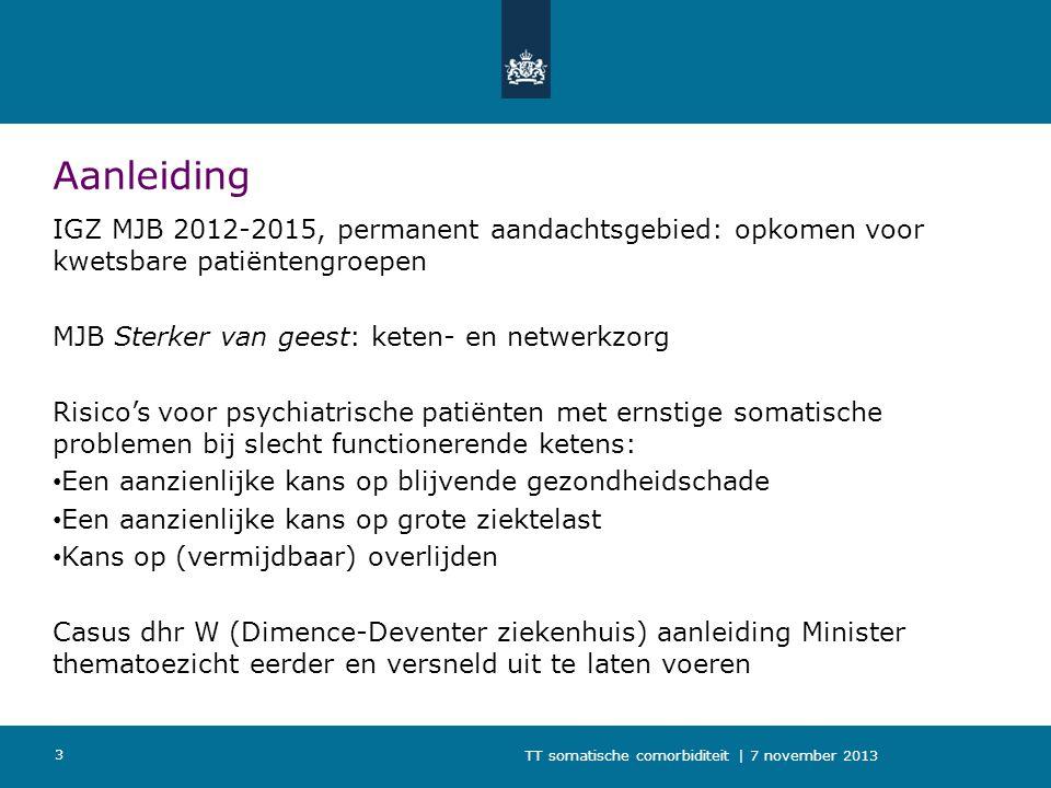 Aanleiding IGZ MJB 2012-2015, permanent aandachtsgebied: opkomen voor kwetsbare patiëntengroepen. MJB Sterker van geest: keten- en netwerkzorg.