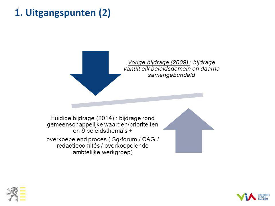 1. Uitgangspunten (2) Vorige bijdrage (2009) : bijdrage vanuit elk beleidsdomein en daarna samengebundeld.