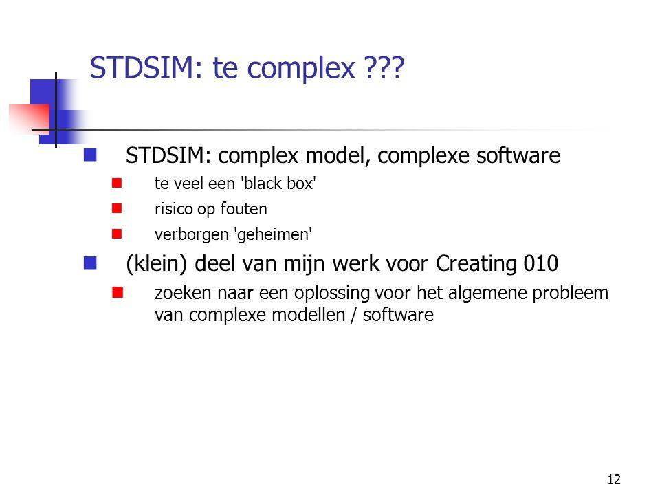 STDSIM: te complex STDSIM: complex model, complexe software