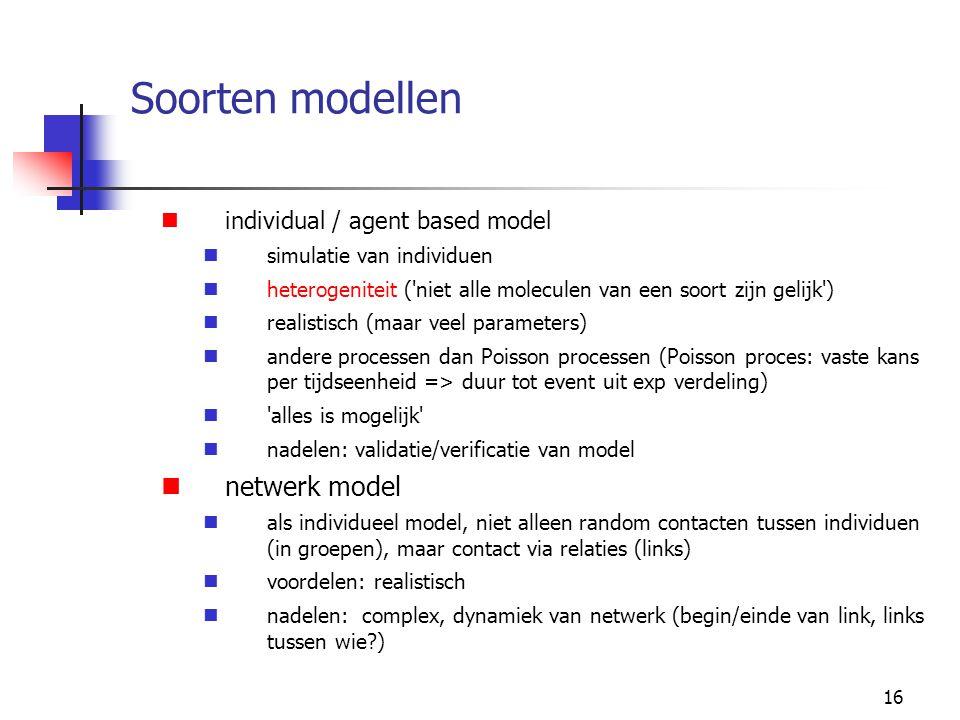 Soorten modellen netwerk model individual / agent based model