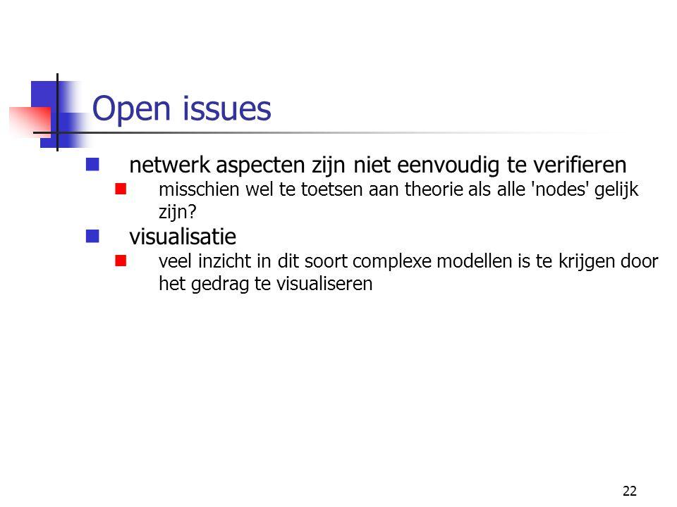 Open issues netwerk aspecten zijn niet eenvoudig te verifieren