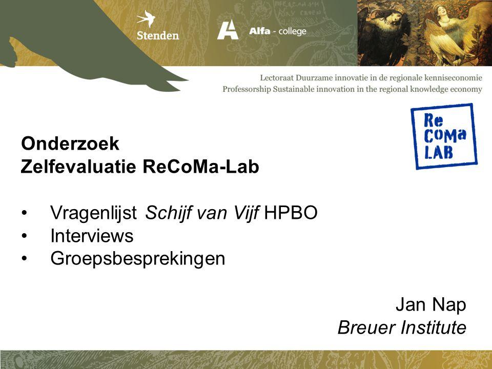 Zelfevaluatie ReCoMa-Lab Vragenlijst Schijf van Vijf HPBO Interviews