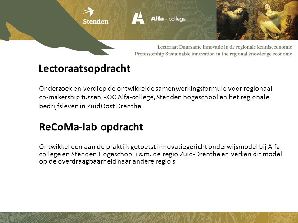 Lectoraatsopdracht ReCoMa-lab opdracht