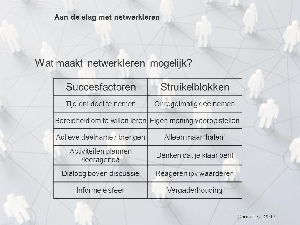 Wat maakt netwerkleren mogelijk Succesfactoren Struikelblokken