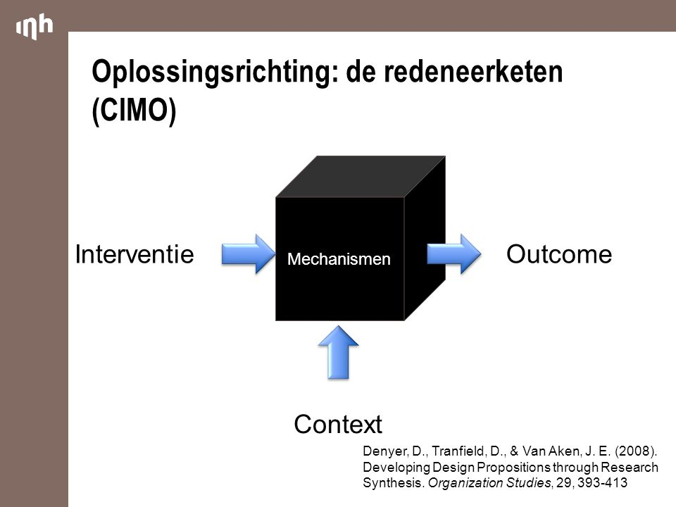 Oplossingsrichting: de redeneerketen (CIMO)
