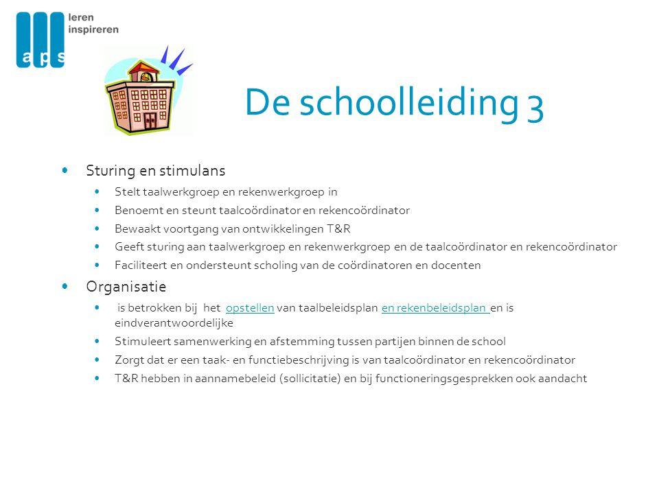 De schoolleiding 3 Sturing en stimulans Organisatie