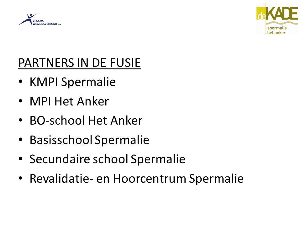 PARTNERS IN DE FUSIE KMPI Spermalie. MPI Het Anker. BO-school Het Anker. Basisschool Spermalie. Secundaire school Spermalie.