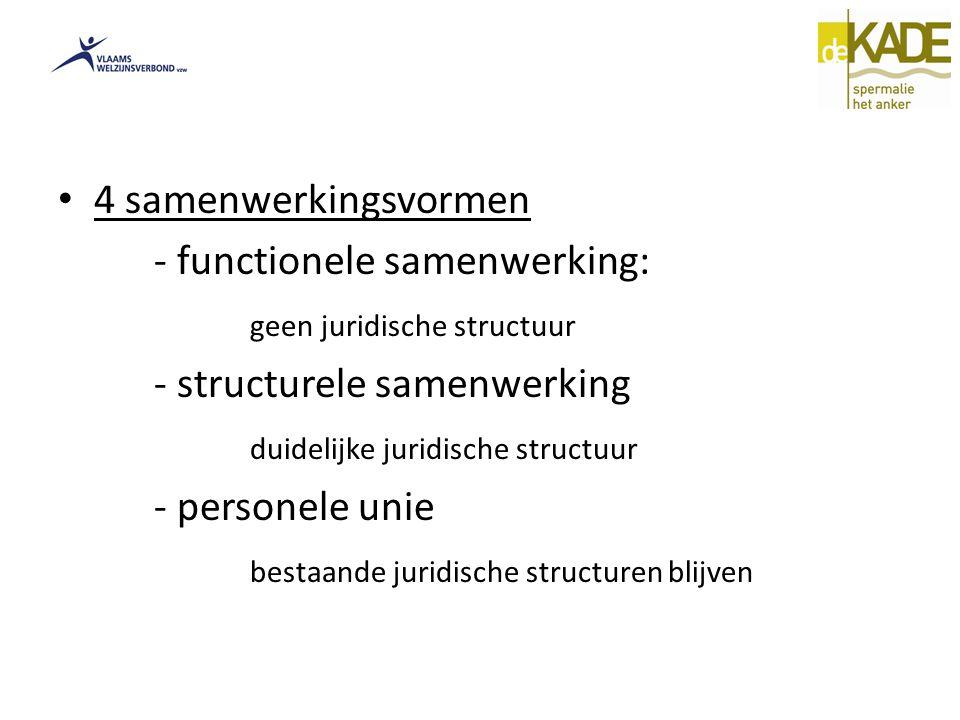4 samenwerkingsvormen - functionele samenwerking: geen juridische structuur. - structurele samenwerking.