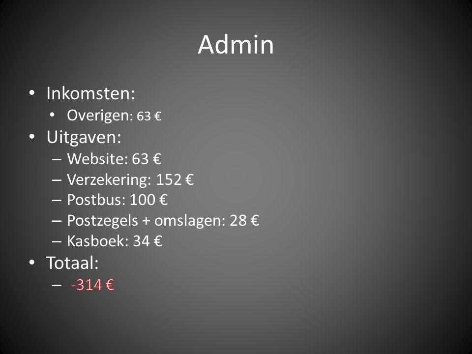 Admin Inkomsten: Uitgaven: Totaal: Overigen: 63 € Website: 63 €
