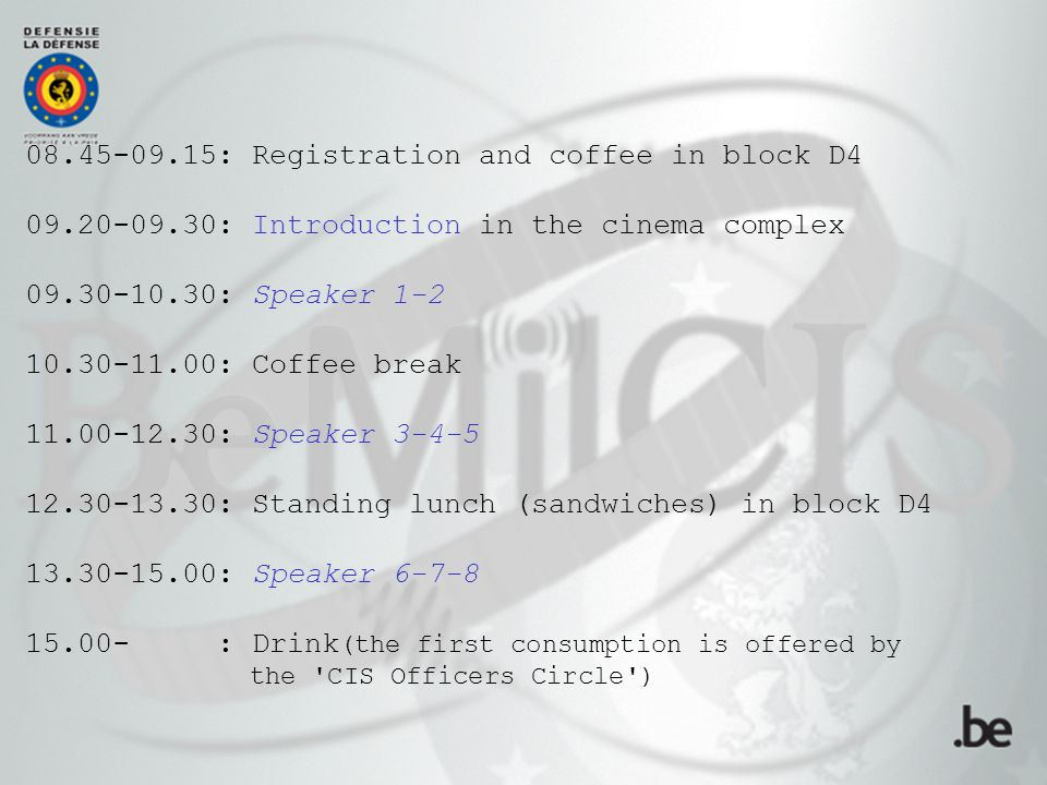 12.30-13.30: Standing lunch (sandwiches) in block D4