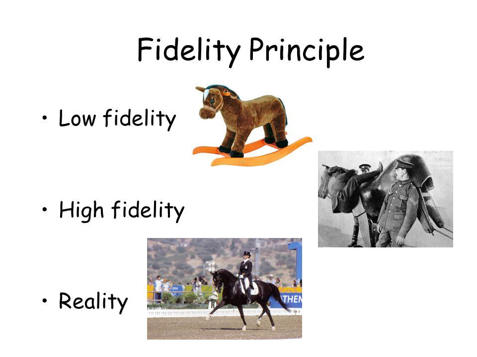 Fidelity Principle Low fidelity High fidelity Reality