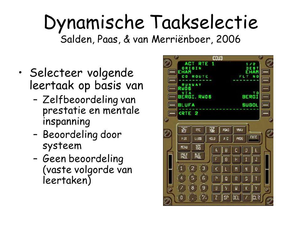 Dynamische Taakselectie Salden, Paas, & van Merriënboer, 2006