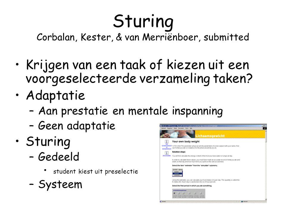 Sturing Corbalan, Kester, & van Merriënboer, submitted