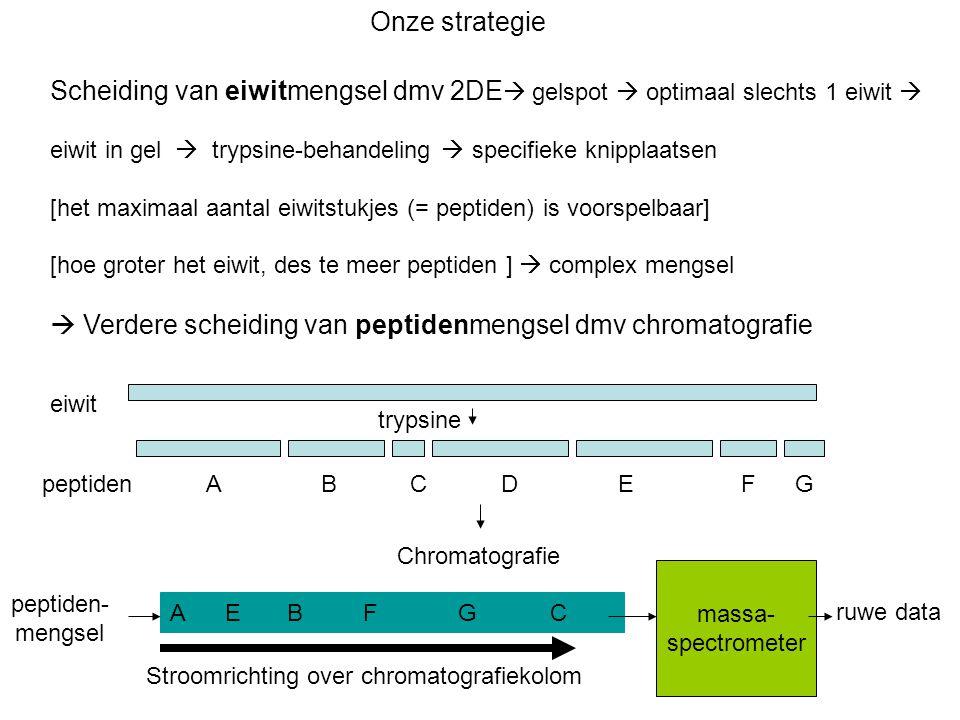  Verdere scheiding van peptidenmengsel dmv chromatografie