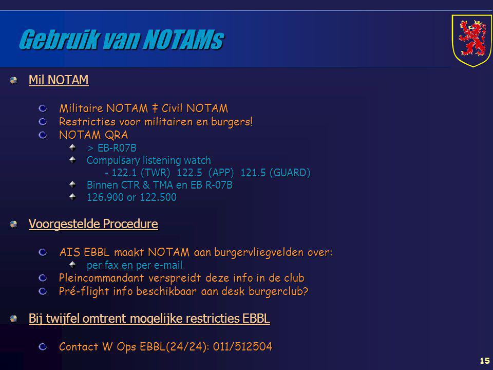 Gebruik van NOTAMs Mil NOTAM Voorgestelde Procedure