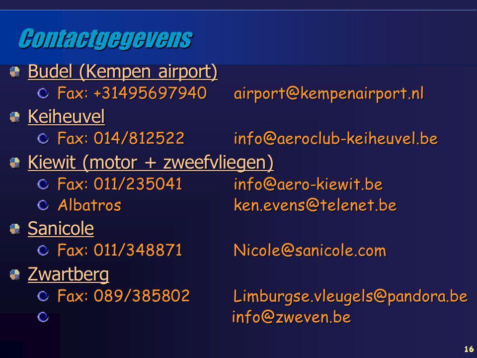Contactgegevens Budel (Kempen airport) Keiheuvel