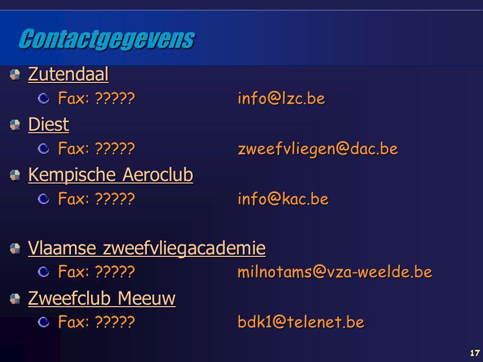 Contactgegevens Zutendaal Diest Kempische Aeroclub