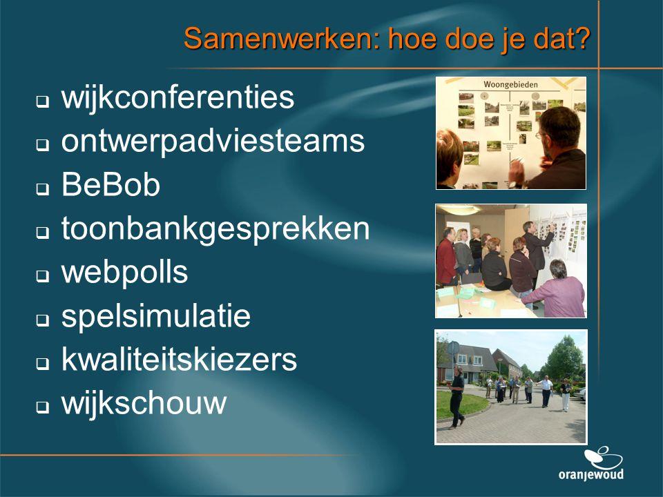 wijkconferenties ontwerpadviesteams BeBob toonbankgesprekken webpolls
