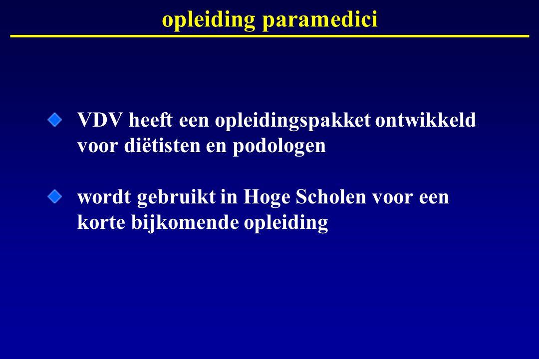 opleiding paramedici VDV heeft een opleidingspakket ontwikkeld voor diëtisten en podologen.