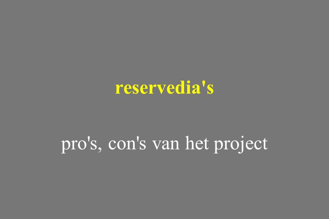 pro s, con s van het project