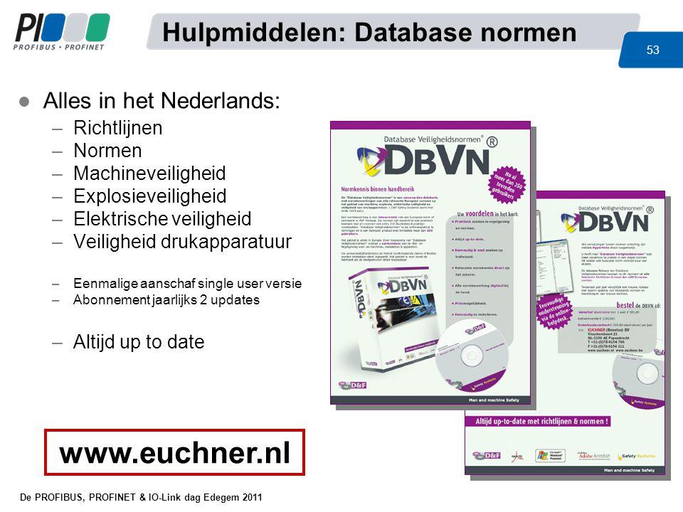 www.euchner.nl Hulpmiddelen: Database normen Alles in het Nederlands: