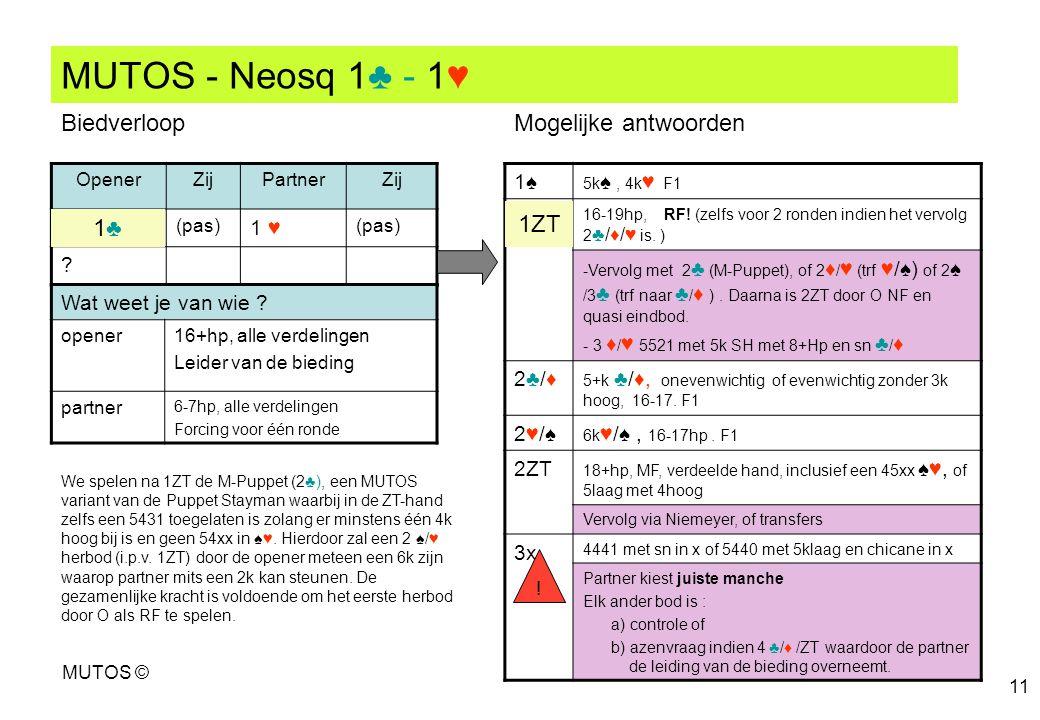 MUTOS - Neosq 1♣ - 1♥ Biedverloop Mogelijke antwoorden 1ZT 1♣ 1♠ 1 ♥